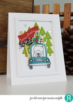 Card by Jen del Muro. Reverse Confetti stamp sets: Bearing Gifts and Bitty Banners. Confetti Cuts: Bearing Gifts and All Framed Up. RC cardstock: Lime Green and Brick. Christmas card. Holiday card. Winter Card.