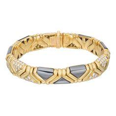 99454070cf3 Estate Bulgari 18k Gold, Hematite & Pavé Diamond Bracelet - Bulgari  always nails. Bracelet BulgariLink BraceletsCuff ...