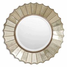 """Uttermost 'Amberlyn' Sunburst Gold Mirror, 299, overstock. 32"""". Ret other one and put this above desk?"""