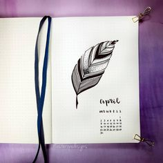 Bullet journal monthly cover page, April cover page, feather drawing. | @asteropedesigns
