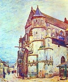 Church In Moret After The Rain Painting by Sisley (Canvas Art)