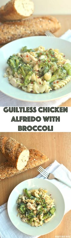 Guiltless Chicken Alfredo with Broccoli is a tasty and healthy dinner recipe that uses a lighter version of the classic sauce. There is no butter, heavy cream or cream cheese in this yummy sauce, but it is still creamy, thick and super flavorful meal! Becky's Best Bites