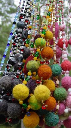 felt bead necklaces