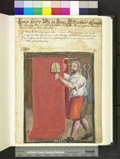 Amb 317b.2 ° folio 135 recto 1657 Teaseling cloth The brother wears buttoned breeches, shirt and skirt. In both hands he holds one carding machine, with which it roughens the rod guided through the long hanging cloth. Right on the wall is the great clothier scissors.