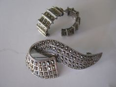 Vintage sterling silver marcasite pin earrings set, sterling marcasite swirl pin brooch and coordinating half hoop earrings