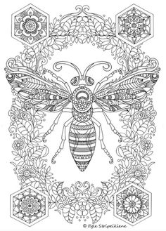 Amazing Detailed Bee | Complex Adult Coloring Page | Free Printable