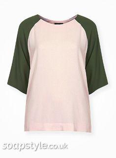 Carla's Green Contrast Sleeve Top