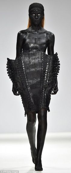 Marko Mitanovski's corset dresses seem  to be inspired equally by X Men's Mystique and Ridley Scott's Alien