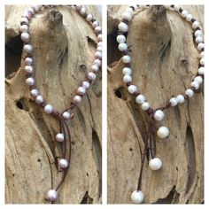 Freshwater Pearl Lariat Necklace on Leather - Choice of Pink or White Pearls