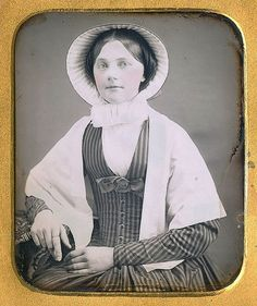 date unknown (can anyone help?) [looks like to me - stm] note: v-neck dress, coat sleeve with seam on top of arm for chevron effect, plain, pleated bonnet lining. Victorian Women, Edwardian Era, Victorian Era, Victorian Fashion, Historical Clothing, Historical Photos, Victorian Photography, Victorian Costume, Vintage Pictures