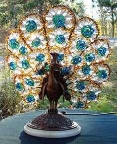 Czechoslovakian Peacock Lamp