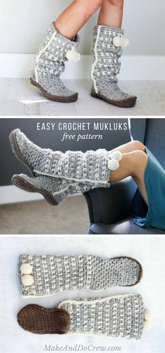 The slouchy Sierra crochet mukluk slippers are surprisingly easy to create… COZY! The slouchy Sierra crochet mukluk slippers are surprisingly easy to create and make a perfect quick crochet gift. Free pattern and step-by-step tutorial! Crochet Slipper Boots, Crochet Slipper Pattern, Crochet Slippers, Crochet Patterns, Felted Slippers, Stitch Patterns, Knitting Patterns, Mode Crochet, Diy Crochet