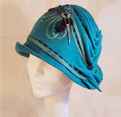 """femme chapeau VINTAGE HAT élégant chapeau cloche hat. Femme en Daim Hat /""""Beauty/"""""""