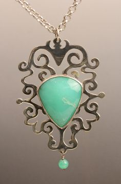 Natalie Nichols Jewelry: Chrysoprase Necklace sterling silver