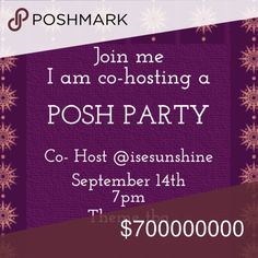 """❗️Update❗️7pm PST will be """"Pre-Fall Vibes Party!"""" ❗️❗️Update Theme❗️❗️9/14/2016 at 7pm PST will be """"Pre-Fall Vibes Party!"""" Join me, I am co-hosting my first Posh Party on September 14th at 7pm. Theme tba. Please like & share this post! tag closets below to be considered for a Host pick!! I hope to see you all there!✌🏼️💖😊 Other"""