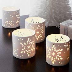 crate & barrel - christmas - snowflake hurricane candleholder