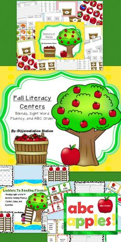 Apple and Fall Literacy Centers! This set of centers includes: blends, sight word fluency, and ABC order. All of the games and centers are aligned with the common core. This set of centers is 72 pages long. It is appropriate for 1st or 2nd grade, homeschool, and special education instruction.