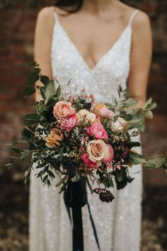 Pink Wedding Bouquet with Sequin Wedding Dress | By Elizabeth Rose | Wedding Bouquet | Wedding Flowers | Bridal Bouquet | Bride Bouquet | Small Wedding | Intimate Wedding | Wedding Flower Bouquet | Pink Wedding Flowers | Summer Wedding Bouquets, Rose Wedding Bouquet, Bride Bouquets, Wedding Flowers, Wedding Dresses, Sequins, Bridal, Bridal Bouquets, Bride Dresses