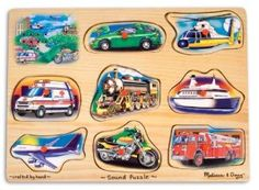Vehicle Sound Puzzle Featuring detailed images of 8 favorite noisy vehicles, this wooden peg puzzle makes the vehicle sound when a piece is placed correctly in the puzzle board! Eight sounds in all; Full-color, matching picture under each piece Kids Wooden Pegs, Wooden Puzzles, Jigsaw Puzzles, Melissa & Doug, Puzzle Pieces, Puzzle Board, Toot, Toddler Toys, Kids Toys