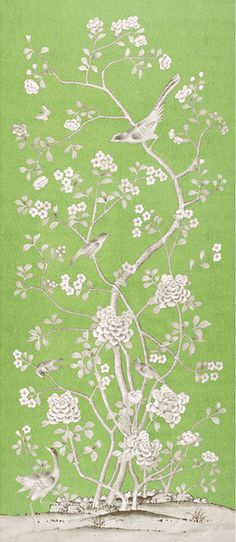 Chinois Palais | 175040 in Lettuce | Schumacher Fabrics | Inspired by an antique Chinese silk panel, this design features exotic birds and cherry blossoms and is true to the original scale. Available as a printed linen and a wallcovering.