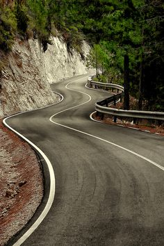 S by Alfon No, on the road again, curves, cliff, trees, beautiful, road, photograph, photo