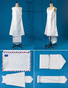 @husseinchalayan designed his #Airmail dress to be folded into an envelope and sent through the mail. The dress—made from Tyvek, a nonwoven, paper-like textile—incorporates the blue and red markings of postage envelopes. His Airmail collection appropriates the actual materials of global communication to create a streamlined wardrobe for the future.