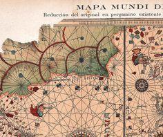 1923 World Map Juan de la Cosa Offset Lithograph Print by carambas, $16.00