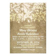 Paris vintage wedding invitation with string lights glitter - golden shimmer design