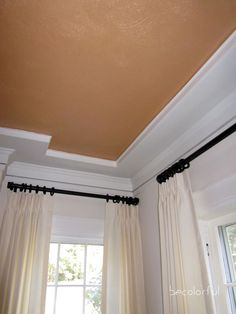 living room: copper ceiling - trim on ceiling, above crown to give a sort of shallow tray ceiling