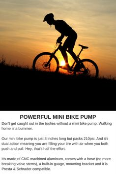 POWERFUL MINI BIKE PUMP Don't get caught out in the toolies without...
