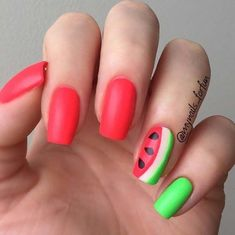 Easy Nail Art Designs - Summer Melon - Step By Step, Simple Tutorials For Beginners For Summer, Fall, Spring, and Winter. Ideas For Nailart For Kids, For Toes, DIY, And Classy Ring Finger Ideas With Glitter. Also Some Great Ideas For Flowers, Paint, Stripes, And Black Nails - https://thegoddess.com/easy-nail-art-design