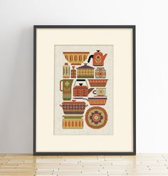 Im a little obsessed with all things mid-century modern so it was only a matter of time before I made another kitchen pattern featuring lots of fun pots and pans with the little graphic details synonymous with the period. Because it includes just whole stitches (no backstitch) its