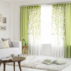 Gardinen, etc. Lime Green and White Leaf Print Poly/Cotton Blend Country Living Room Curtains How Living Room Green, Home Curtains, Curtains Living, Living Room Diy, Green Curtains Living Room, Home Decor, Window Curtain Designs, Living Decor, Country Living Room