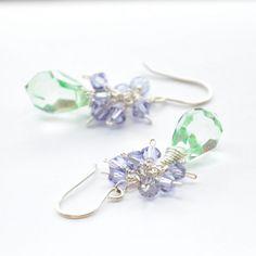 Mint Green Earrings Lilac Peridot Jade Blue Violet