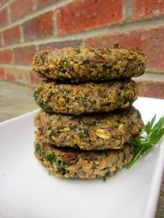 Porte Bella mushroom & kale burgers. Recipe from http://www.ahealthypassion.com/2011/09/27/portobello-mushroom-burgers/. Vegan.