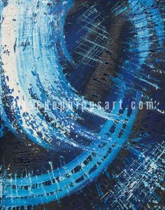 "SOLD ""Wave"" Abstract oil on canvas 11x14x1"" blue, white, black amandaphippsart.com"