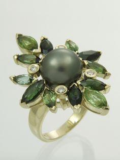 Tahitian Pearl, Tourmaline & Diamond