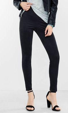 seamed faux suede legging