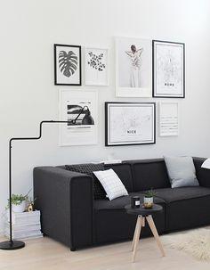 black white grey living room