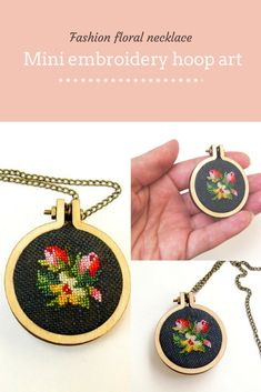 Items similar to Floral pendant necklace Mini embroidery hoop art flowers Fashion jewelry accessory for her Wearable tiny cross stitch tulips Woman gift idea on Etsy Embroidery Monogram, Embroidery Hoop Art, Hand Embroidery Designs, Embroidery Ideas, Good Luck Necklace, Evil Eye Necklace, Jewelry Art, Fashion Jewelry, Tiny Cross Stitch