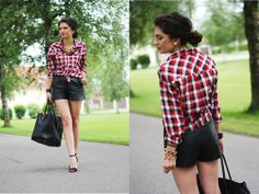 Leather shorts (by Anni ***) http://lookbook.nu/look/3691339-leather-shorts