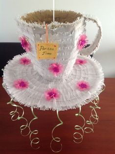 DIY Tea cup piñata I made for my daughter's birthday princess tea party! Princess Tea Party, Princess Birthday, Tea Party Birthday, 8th Birthday, Chip Costume, Valentine Ideas, Valentines, Truck Or Treat, Beauty Beast