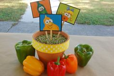 Ideas/Tips for Planning a Veggie Tales Birthday Party Hide things kids have to find in the peas. Veggie Tales Birthday, Veggie Tales Party, Third Birthday, 4th Birthday Parties, Birthday Ideas, Outdoor Birthday, Birthday Centerpieces, Party Planning, First Birthdays