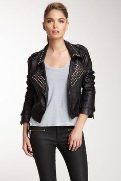 Blanc Noir Ombre Stud Moto Jacket by Blanc Noir on @HauteLook
