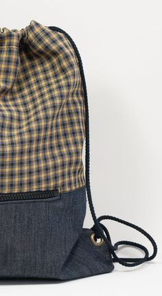 Backpack. Checkered backpack. Fabric bag. Backpack with by TELANDO