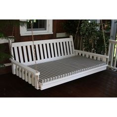 A & L Furniture Sundown Agora 4 ft. Swing Bed Cushion Gray Stripe - 1004-GRAY STRIPE-3788