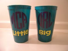 Sorority Big and Little Cups, Set of 2, Personalized Monogramed, Teal. $8.00, via Etsy.