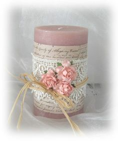 Simple and sweet. 3d Quilling, Paper Quilling Designs, Diy Candle Holders, Diy Candles, Sheet Music Crafts, Candle Craft, Decoupage, Do It Yourself Crafts, Candle Shop