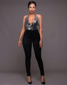 US$ 8.3200 Sexy Sleeveless Deep V Neck Sequin Black Jumpsuit  LE6674