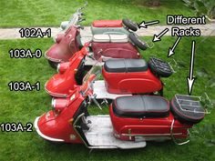 Four versions of the Heinkel Tourist Motor Scooters, Vespa Scooters, Classic Vespa, Morgan Cars, Old Bikes, Mopeds, Vintage Bikes, Wooden Boats, Dream Garage